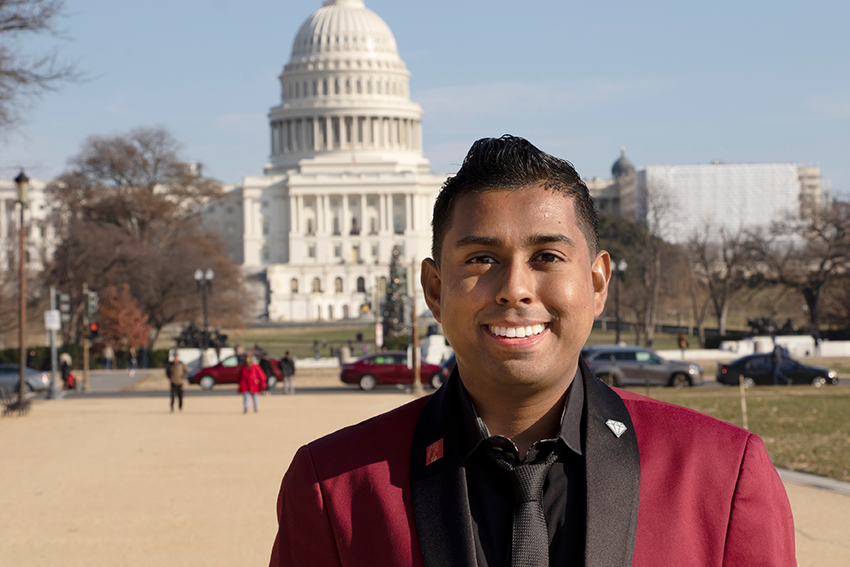 Tevin Ali, 2016 Alum, in front of the US Capitol
