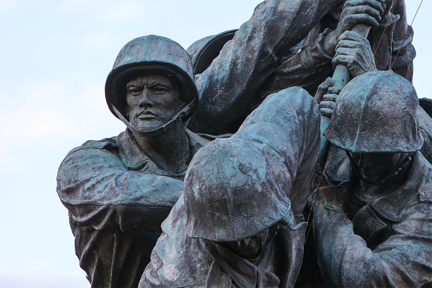 Closeup of Iwo Jima Memorial in Arlington, VA