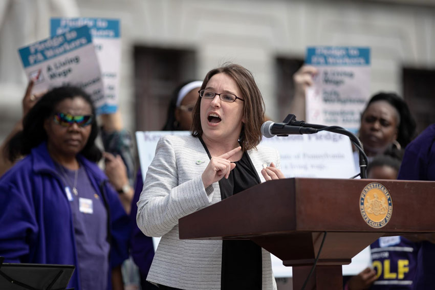 TWC alumni Lindsey Williams at an SEIU Workers Rights Rally in Harrisburg, April 2019.