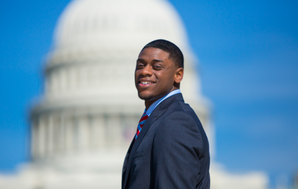 Isaiah Boswell in front of the U.S. Capitol