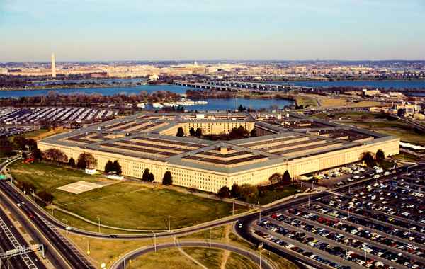 Aerial view of the Pentagon in Arlington, VA