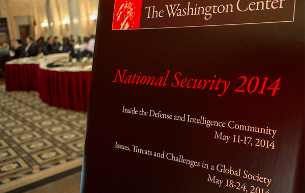 Welcome sign for National Security Seminar