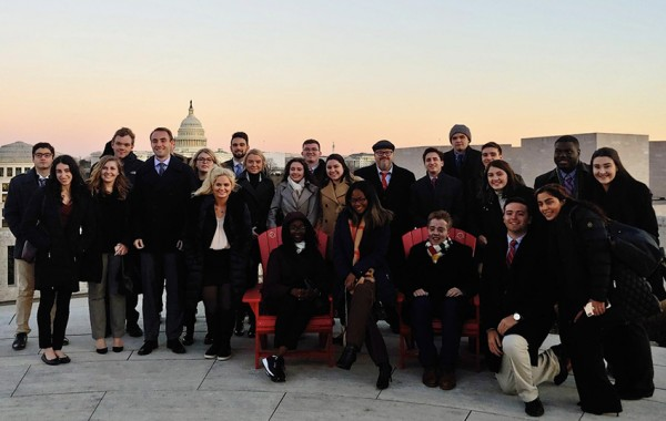Quinnipiac University's seminar participants at the Canadian Embassy roof
