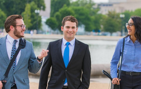 Ray walking with friends after his internship on Capitol Hill