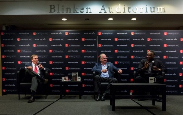 C-SPAN's Steve Scully, author Douglas Blackmon and Howard University's Dr. Greg Carr.