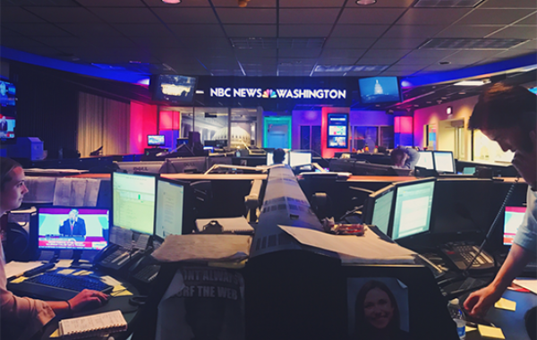 Emerson students in the NBC News Room