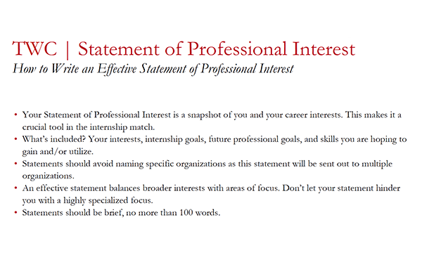 Statement of Professional Interest