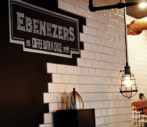 Enjoying a cup of coffee at Ebeneezers.