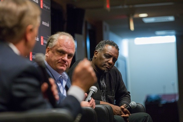Douglas Blackmon and Greg Carr listen to a question from Steve Scully.