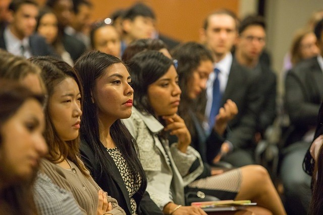 Students of The Washington Center listen intently to Douglas Blackmon, Greg Carr and Steve Scully.