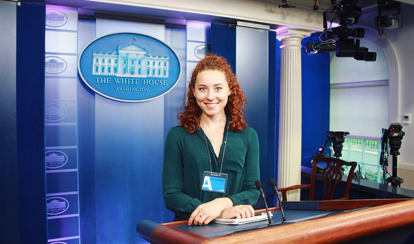 Courtney Beesch at the White House podium