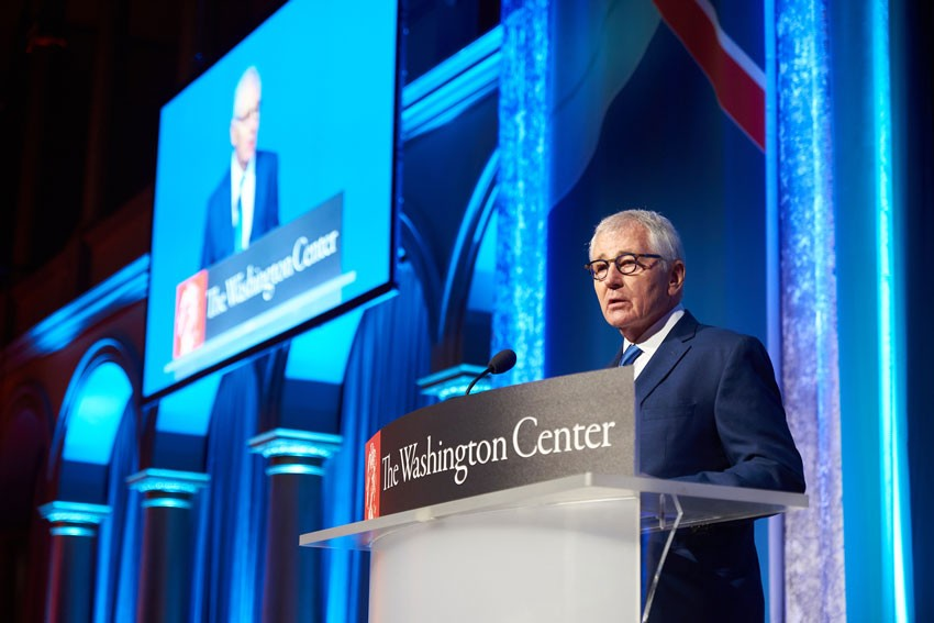 Former Secretary of Defense Chuck Hagel accepting the Lifetime Achievement Award.