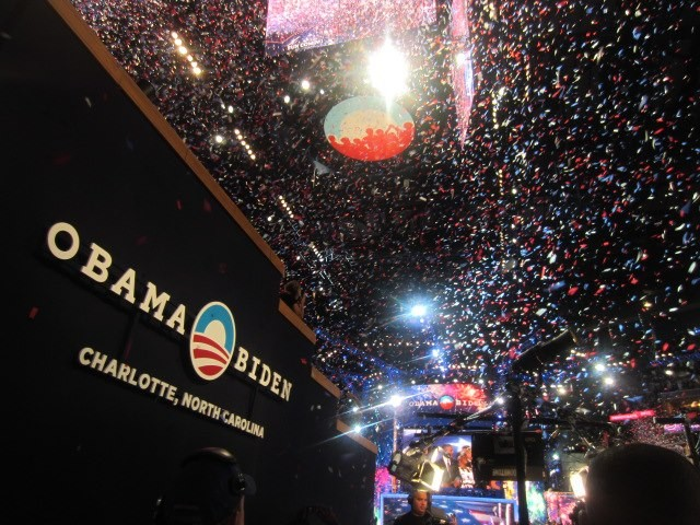 Watching President Obama accept the nomination at the 2012 DNC.