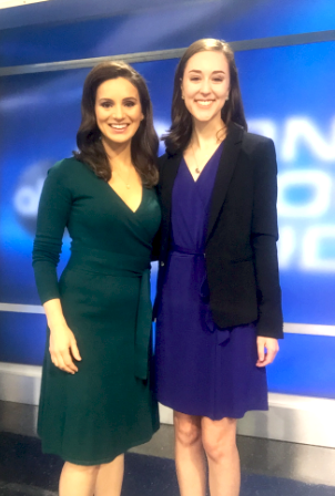 Emily pictured alongside Emmy Award-winning anchor, Lindsey Mastis