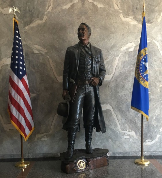 A statute of one of the first U.S. Marshals at the Headquarters of the Marshals Service in Crystal City, Virginia.