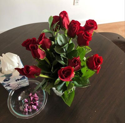 Some beautiful flowers and Valentine's chocolate to decorate our apartment for the holiday.