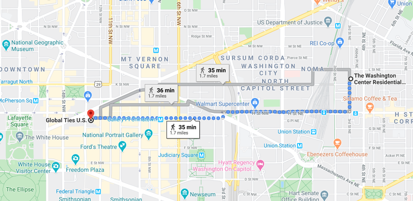 My usual walking route from the RAF in NoMa to my internship site in downtown D.C.