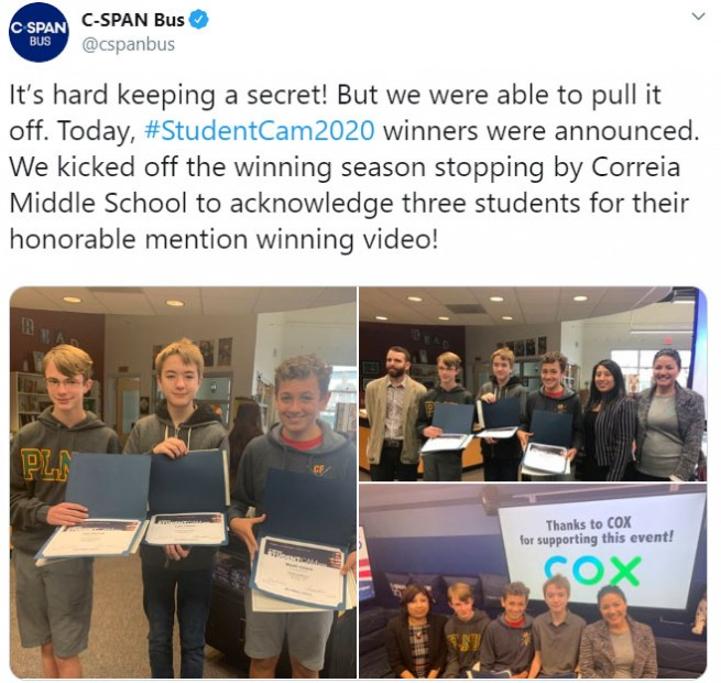 Announcing the winners of C-SPAN's StudentCam documentary competition.